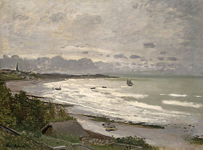 Fishing Village Painting - The Beach At Sainte Adresse by Claude Monet