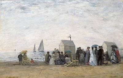 Crowd Scene Painting - The Beach At Trouville by Eugene Louis Boudin