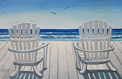 The Beach Chairs Art Print by Elizabeth Robinette Tyndall