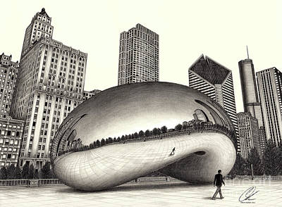 The Beach Chicago Drawing Art Print