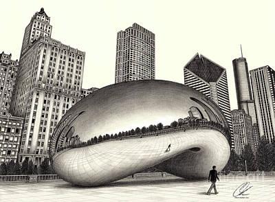 The Beach Chicago Drawing Art Print