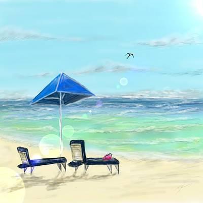 Digital Art - The Beach by Darren Cannell