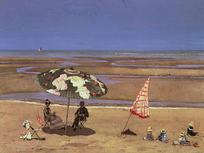 Umbrella Painting - The Beach by Etienne Moreau Nelaton