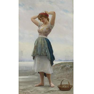 Eugen Von Blaas Painting - The Beach by Eugen von Blaas