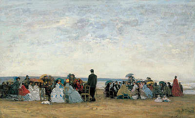 Boudin Painting - The Beach Near Trouville by Eugene Boudin