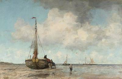 Scheveningen Painting - the beach of Scheveningen by Jacob Maris