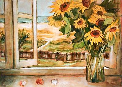 The Beach Sunflowers Art Print