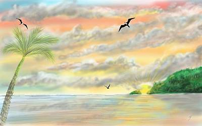 Digital Art - The Beach Sunset by Darren Cannell