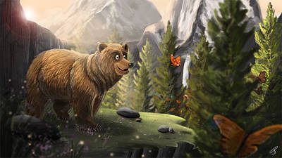Painting - The Bear And The Butterfly by Jamie Price