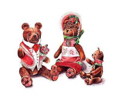 Childrens Art Drawing - The Bear Family by Arline Wagner