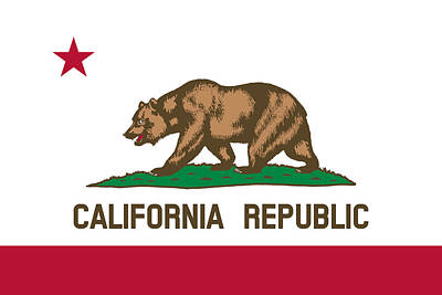 Grizzly Bear Mixed Media - The Bear Flag - State Of California by War Is Hell Store