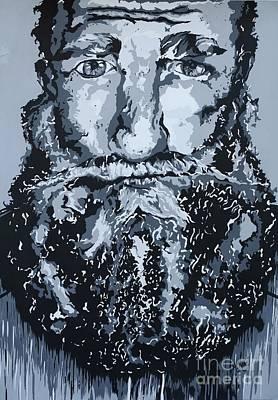 Monochromatic Study Painting - The Bearded Man by Madelaine Kobe
