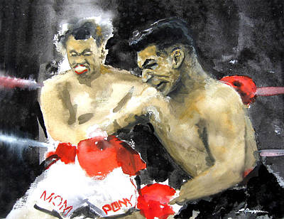 Sporting Event Painting - The Beast In The Ring by Leonardo Ruggieri