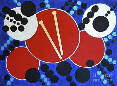 Drum Set Painting - Drum Roll by Judith Finch