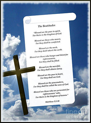 The Beatitudes And Cross Art Print