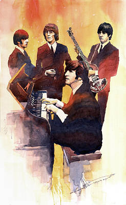 Musicians Painting - The Beatles 01 by Yuriy  Shevchuk