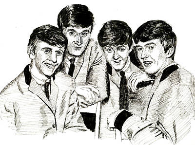 Starkey Drawing - The Beatles 1963 by Ron Enderland