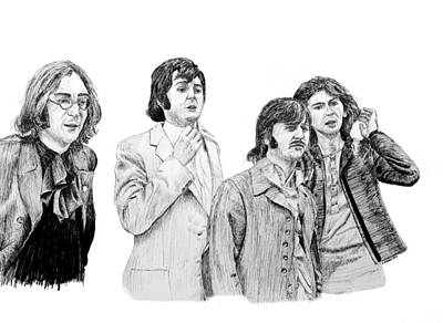 Starkey Drawing - The Beatles, 1968, In Ink by Ron Enderland