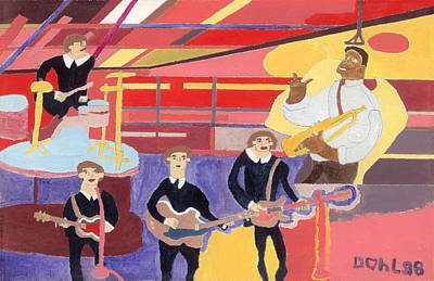 Painting - The Beatles And Louis Armstrong by Don Larison