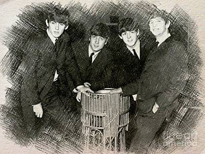 Beatlemania Drawing - The Beatles Drawing by John Malone