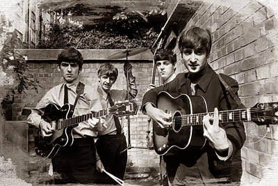 The Beatles In London 1963 Sepia Painting Art Print by Tony Rubino