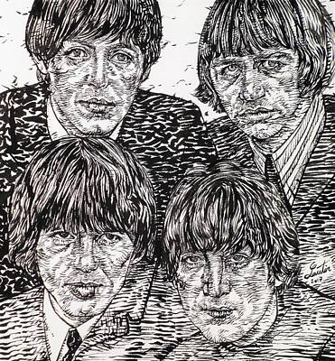Drawing - The Beatles - Ink Portrait by Fabrizio Cassetta