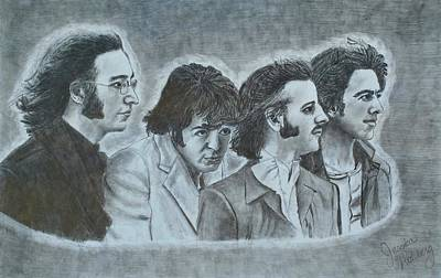 John Lennon Portrait Drawing - The Beatles  by Jessica Hallberg