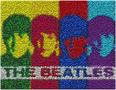 The Beatles Mm Candy Mosaic Print by Paul Van Scott