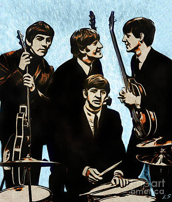 Ringo Drawing - The Beatles by Sergey Lukashin