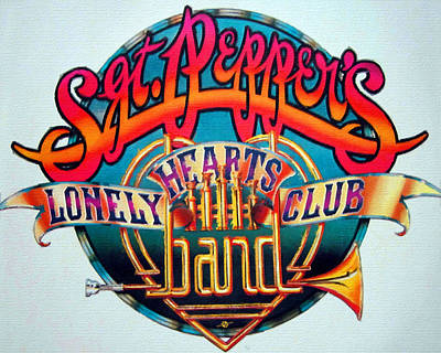 The Beatles Sgt. Pepper's Lonely Hearts Club Band Logo Painting 1967 Color Art Print by Tony Rubino