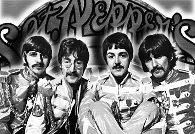 The Beatles Sgt. Pepper's Lonely Hearts Club Band Painting And Logo 1967 Black And White Art Print by Tony Rubino