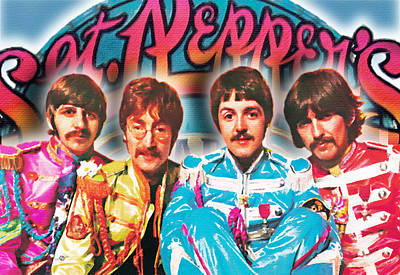 Paul Mccartney Portrait Painting - The Beatles Sgt. Pepper's Lonely Hearts Club Band Painting And Logo 1967 Color by Tony Rubino