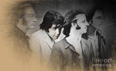 Drawing - The Beatles by Steven Parker