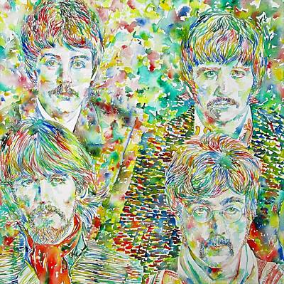 The Beatles - Watercolor Portrait.1 Print by Fabrizio Cassetta