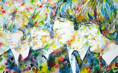 Fab Four Painting - The Beatles - Watercolor Portrait.2 by Fabrizio Cassetta