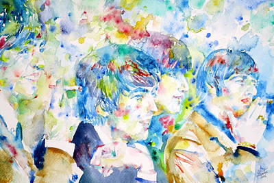Fab Four Painting - The Beatles - Watercolor Portrait.4 by Fabrizio Cassetta