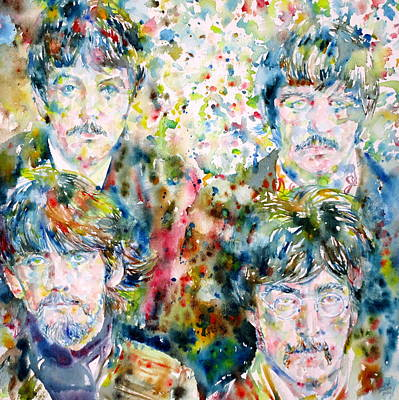 Fab Four Painting - The Beatles - Watercolor Portrait.5 by Fabrizio Cassetta