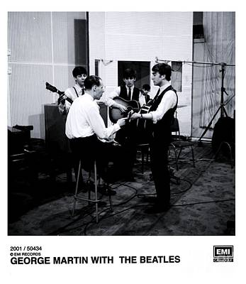 Abbey Road Photograph - The Beatles With George Martin At Abbey Road. by The Titanic Project