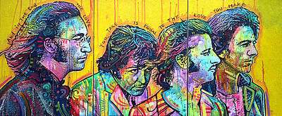 The Beatles Art Painting - The Beatles Yellow Triptych by Dean Russo