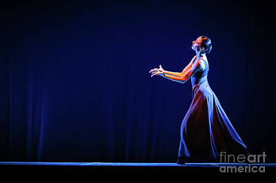 Photograph - The Beautiful Ballerina Dancing In Blue Long Dress by Dimitar Hristov