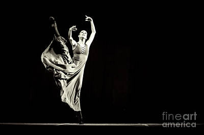 Art Print featuring the photograph The Beautiful Ballerina Dancing In Long Dress by Dimitar Hristov