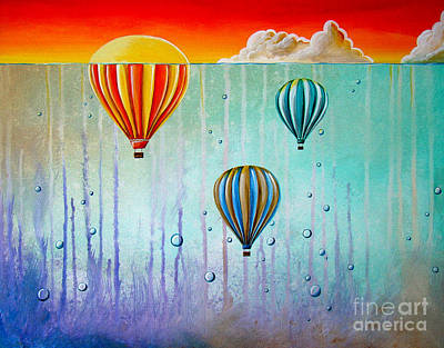Hot Air Balloon Painting - The Beautiful Briny Sea by Cindy Thornton