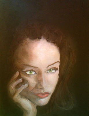Painting - The Beautiful Brunette Stares by Peter Gartner