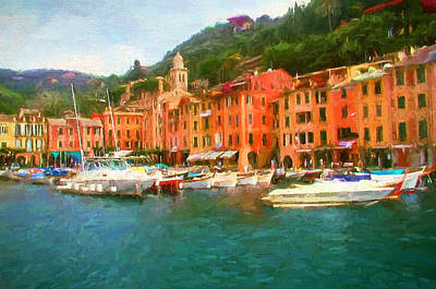 Portofino Italy Painting - The Beautiful Harbor Of Portofino by Mitchell R Grosky