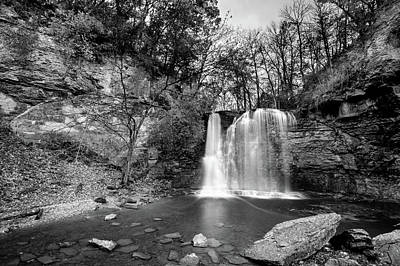 Photograph - The Beautiful Hayden Falls - Black And White - Dublin Ohio by Gregory Ballos