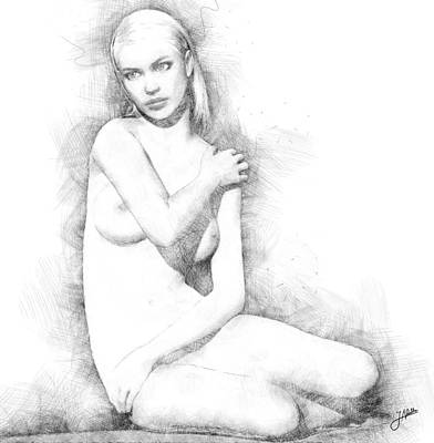 Nudes Digital Art - The Beautiful Shy by Joaquin Abella
