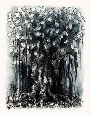 Ficus Aurea Drawing - The Beautiful Tree by Rachel Christine Nowicki