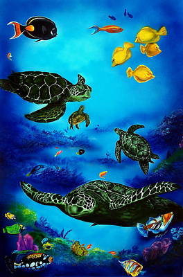 Sea Turtles Painting - The Beauty Below by Kathleen Kelly Thompson