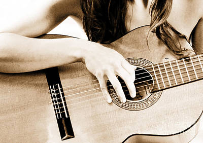 Nude Woman Guitar Photograph - The Beauty Of A Classical Guitar  by Steven  Digman