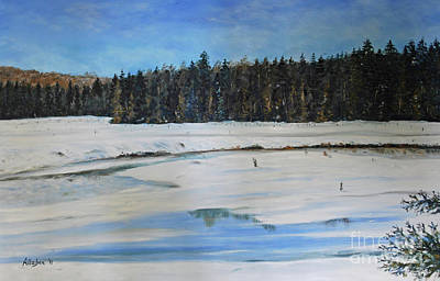 The Beaver Pond In Winter Art Print by Stanton Allaben